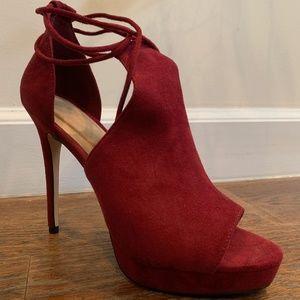 Raspberry ankle lace up platform heels
